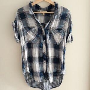 Cloth & Stone| Plaid Button Up Cap Sleeve Top